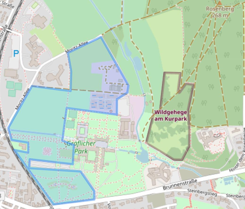Karte eines möglichen Golfgeländes im Park