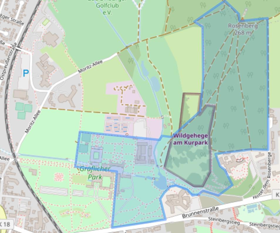 Karte eines teilgenutzten Parkgeländes