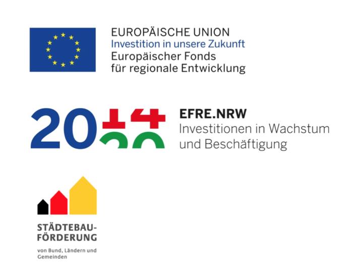 Logos der Fördergeber: EU, EFRE.NRW, Städtebau-Förderung